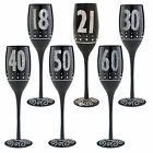 Black & Silver Birthday Champagne Flute with Frosted Stem - Choose Age
