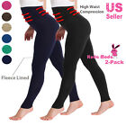 2-Pack High Waist Compression Tummy Control Fleece Lined Footless Legging Pants