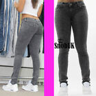 Womens Ladies Skinny Mid Waisted  Fit Jeans Stretchy Grey Denim Jegging Size6-12