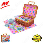 Tea Party Set Play Toy Wicker Picnic Basket Porcelain Cup Napkins Gift for Girls