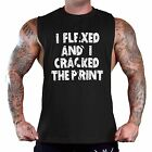 Men's Flexed And Cracked The Print Black T-Shirt Tank Top Gym Workout Fitness