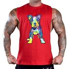 Men's Puppy Pitbull Red T-Shirt Tank Top Gym Workout Muscle Fitness Neon Dog
