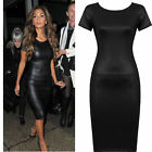 LADIES WOMENS WET LOOK CAP SLEEVE PVC LEATHER DRESS BODYCON TOP PLUS SIZE 8-26