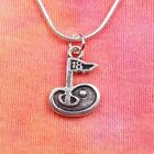 18th Hole Necklace, Golf Golfing Golfer Charm Pendant Gift Jewelry Men or Women