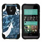 For HTC Desire 520 Dual Layer Hybrid Shell Kickstand Fitted Case Cover