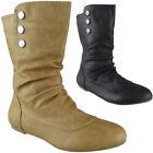 Womens Mid Calf Boots Rouched Pixie Pull On Ladies Slouch Short Flats Size
