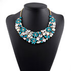 Luxury Clear/teal Glass Gem Daisy Flower Bib Collar Necklace Ship From Nyc