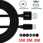 3/6/10FT Braided Type C USB-C Rapid Charging Cable For Samsung S8 S8 Plus Note 8