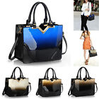 Womens Patent Handbag Tote Shoulder Designer Ladies 2 Tone Bag Front Bow Design