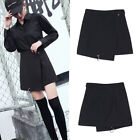 Elegant Irregularly Mini Skirt Punk Ring Black High Waist Skirts Women Fashion