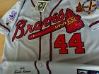 Brand New Atlanta Braves 44 Hank Aaron w Dual patches sewn Jersey Grey mens