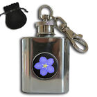 FORGET ME NOT MASONIC STAINLESS STEEL 1oz HIP FLASK KEYRING GIFT