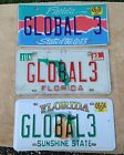 "Florida VANITY License Plate Tag # GLOBAL 3 ( LOT of 3)  ""State of the Arts"""