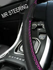 FOR VW JETTA MK4 BORA 99-06 LEATHER STEERING WHEEL COVER HOT PINK DOUBLE STITCH
