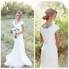 White/Iovry Wedding Dresses Bridal Gowns Vintage Lace Applique Modest Cap Sleeve
