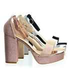 Current02 Block Heel Platofrm Open Toe Dress Sandal w Ankle Strap