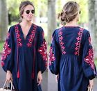 VTG ELSA IN THE CLEAR FESTIVAL FLORAL EMBROIDERED PRINT LONG HOLIDAY TOP DRESS