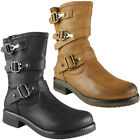 Womens Ladies Buckle Strap Zip Low Heel Army Work Biker Ankle Boots Shoes Size