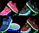USB Charge LED Flash Light Up Shoes Kids Boys Girls Casual Trainers Sneakers