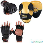 Half Finger Punch Boxing Grappling Mitts Focus Pads Training Set Kick MMA Fight