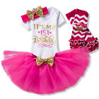 Kids Baby Girl First 1st Birthday Tutu Dress Outfits Sets Infant Clothing 4pcs
