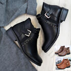 New Flat Buckle Ankle Boots Side Zip Casual Low Heel Womens Ladies Shoes Sizes