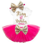 It's My 1st Birthday Outfit Girl Gold One Tutu Baby Girl Party Dress Sets Suits