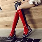 Womens Knee High Boots Pull On Knight Shoes Buckle Strap Wedge Heel PU Leather