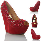 NEW WOMENS LADIES WEDGE HIGH HEEL DIAMANTE FAUX SUEDE SANDALS SHOES SIZE
