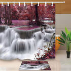 Waterfall In Red Leaves Forest Bathroom Polyester Fabric Shower Curtain 71 Inch