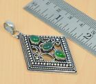 FREE SHIP 925 SILVER PLATED GREEN ONYX FILIGREE LONG PENDANT JEELRY G10496