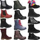 Girls Winter Ankle Boots Kids Army Combat Flat Grip Sole Fur Lined Shoes Size