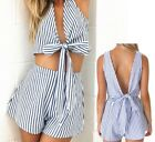 Womens Casual Summer Stripe Tops Shorts T-Shirts Pants Two Piece Set Beach Suit