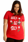 New Women Plus Size Top Ladies T-Shirt Mistletoe Christmas Pudding Ho Ho Ho Sale
