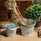 Retro Old Metal Iron Flower Pot Hanging Balcony Garden Plant Planter Decor Pot