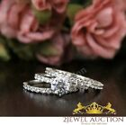 Round Cut Solitaire 14K White Gold Diamond Wedding Bridal Engagement Ring Set