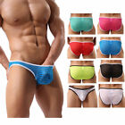 Men's Breathable Glossy Sheer Striped High Cut Leg Brief Transparent Underwear