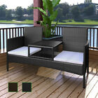 Patio Outdoor Garden Sofa w/ Tea Table 2-Seater Bench Poly Rattan Brown/Black