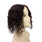 Women Curly 100% Human Hair Topper Hairpiece Toupee Top Piece Replacement