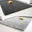 SOFT SHAGGY GREY BLACK THICK PILE CHARCOAL PLAIN BEDROOM NON-SHED MODERN RUGS