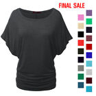 [FINAL SALE]Doublju Womens Short Sleeve Round Neck Drape Dolman Blouse Top
