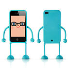 Dealize Appitoz AP-i4 Blue iPhone 4 4S Character Apps Case with Arm and Leg