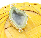 An-3506 Sale! Lemon Geode Druzy Sllver Plated Handmade Connector Jewelry Making