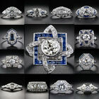 Pretty Lot 925 Sterling Silver Blue White Sapphire Ring Charm Wedding Jewelry $4.54 USD