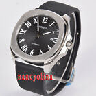 Parnis 40mm black dial brushed case sapphier glass Miyota date automatic watch