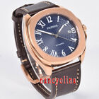 Parnis 40mm blue dial sapphier rose gold case 5ATM Miyota date automatic watch