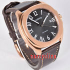 Parnis 40mm black dial sapphier rose gold case 5ATM Miyota date automatic watch