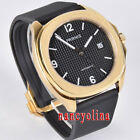 Parnis 40mm black dial sapphier glass golden case 5ATM Miyota automatic watch