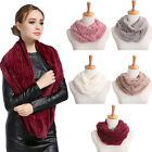 ES_ Women Winter Warm Infinity Circle Cable Knit Cowl Neck Faux Fur Scarf Shawl