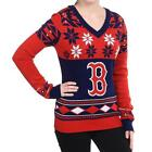 NFL Women's Ugly Holiday V-Neck Sweater, Klew, Pick Your Team
